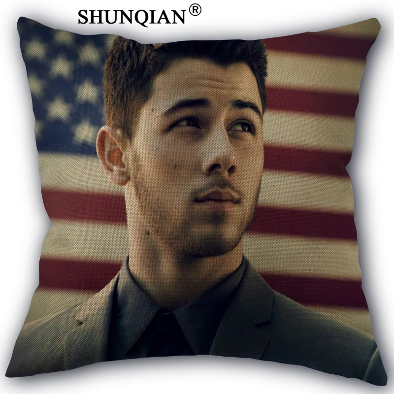 Nick Jonas Pillowcase Cotton Linen Woven Pillowcase Custom Bedroom Pillowcase Decorative Pillow Cases Home Office Decorative
