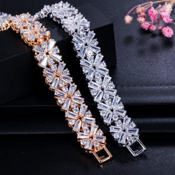 Bracelet femmes bijoux Fleurs cubiques zircone