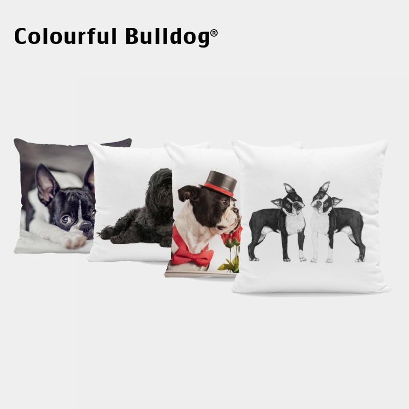 Cute Dogs Throw Pillow Cover French Bulldog Dachshund Cats Cushion Case Blue Pug Red Rose Bow Tie Home Living Room Decor 43*43cm