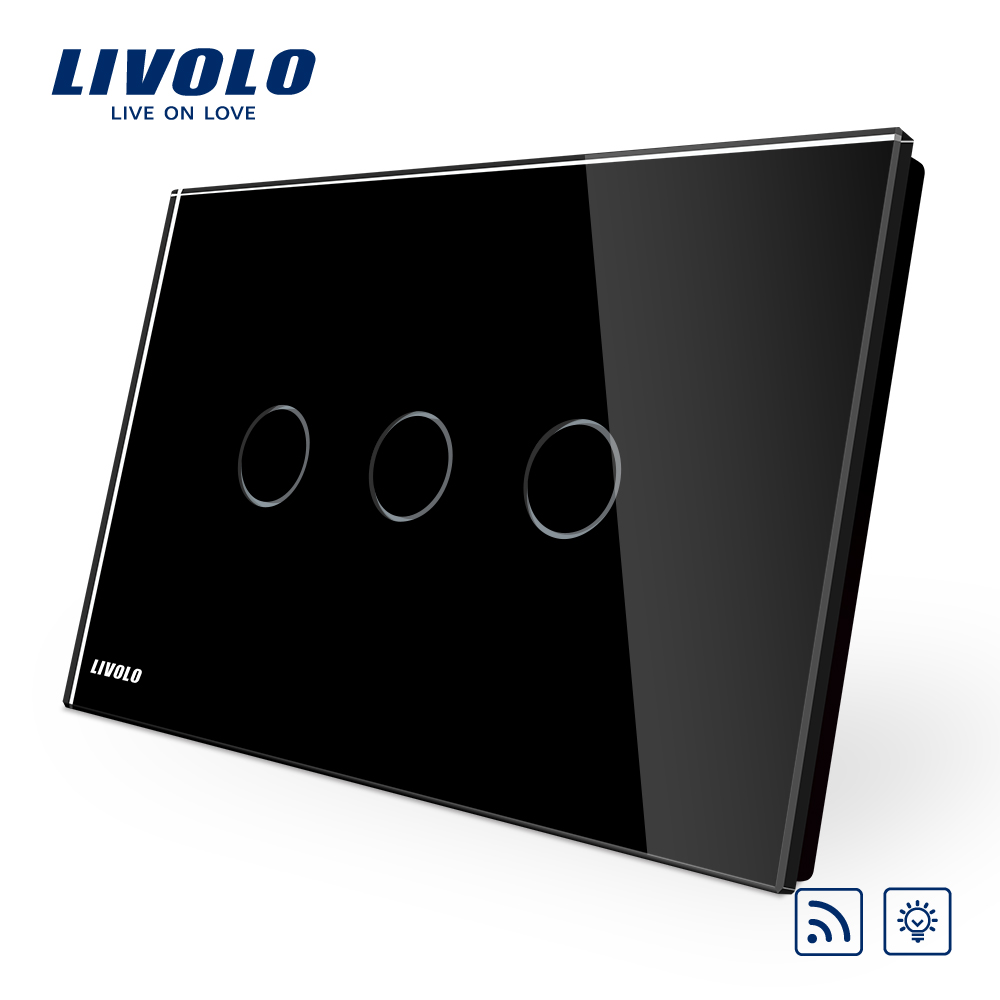 Livolo Dimmer Remote Switchblack Pearl Crsytal Glass Panel 3gangs 220v Light 1way 50hz Touch