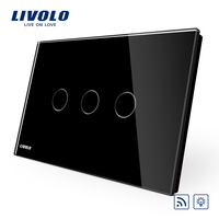 US AU Standard Touch Switch Livolo Black Pearl Crsytal Glass Panel 3Gangs 1Way 220V 50Hz Touch