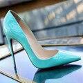 2016 Dames Schoenen Venda Quente Básico Pu Saltos Finos Sapatos Mulheres altas Pintura Leater Apontado Stiletto Bombas das Mulheres Tamanho Grande 35-46