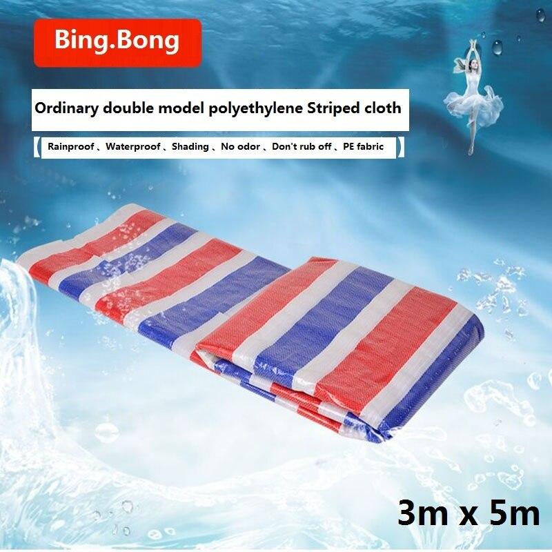 3M x 5 m клеенка 100% водонепроницаемая ткань PE пластик Полин 100% Непромокаемая ткань 3 цветные ленты полоса Прорезиненная Ткань Цветок затенение
