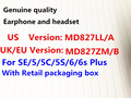 DHL 20pcs with retail packing Genuine Original Quality headset in-ear headphones With Remote Mic for iphone 4s 5 5s 6 6S plus