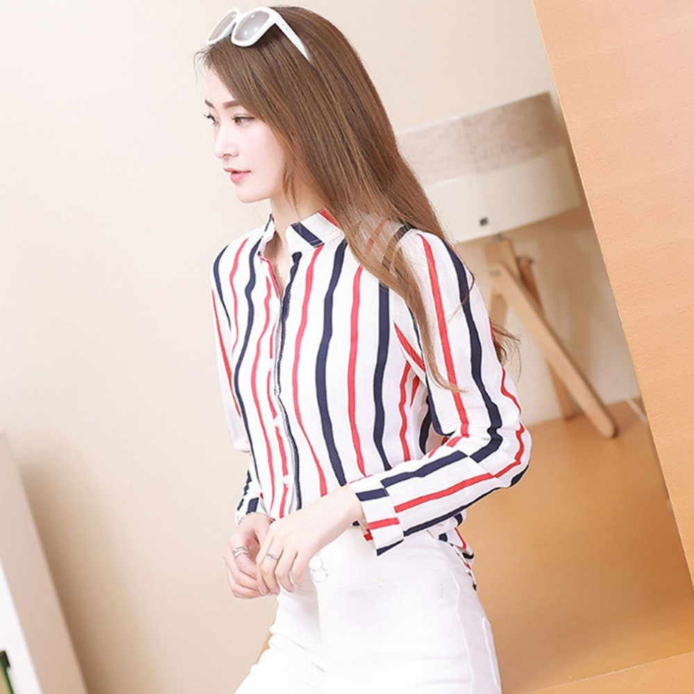 Chiffon Red & Blue Striped Female Blouse Shirt Spring 2018 New Women Casual Slim Fit Blouses Girls Striped Shirt Tops Blusas