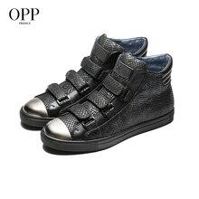 OPP Snakeskin Men Shoes Ankle Boots Men Punk hop hip Metal Rivet High Top Men Boots Genuine Leather Sneakers Hook&Loop Shoes недорого