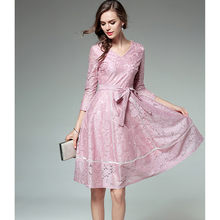 ... Sexy Purple Silver Mini Short Runway Spring  newest f368b b9fbe HANZANGL  Pink Lace Dress 2018 Womens 34 Sleeve V-neck Fashion Elegant ... ce3b58b949b8