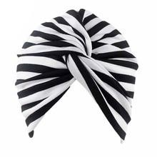 Muslim Women Stretch Cotton Striped Beanie Turban Chemo Hat Head Wrap Cap Headwear for Cancer Patients
