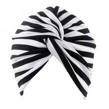 Muslimische Frauen Stretch Baumwolle Gestreiften Mütze Turban Chemo Hut Kopf Wrap Kappe Headwear für Krebs Patienten