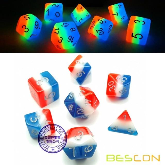 Bescon Glowing Dados Poliédricos 7 pcs Set BEIJO FRANCÊS, Luminous Dice RPG Brilham no Escuro, papel Que Joga o Jogo Dice DND
