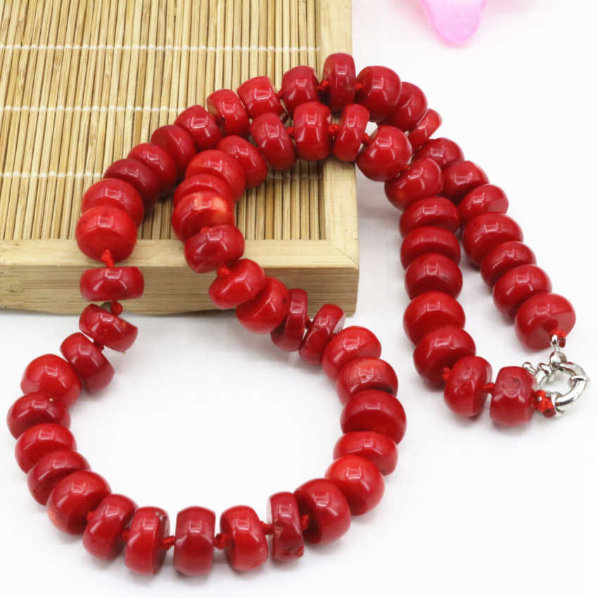 New Bohemia statement choker natural coral stone gem 8*12mm abacus beads necklaces for women fine chain jewelry 20inch B3206