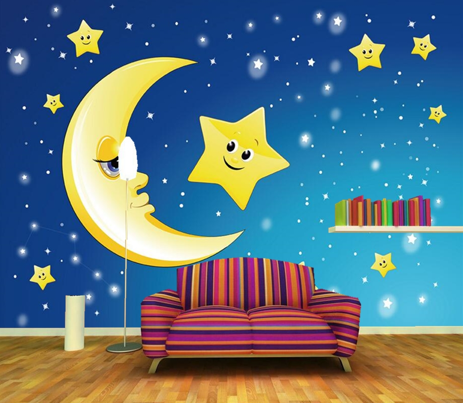 Custom 3D murals,Cute cartoon stars moon wallpaper papel de parede, living room sofa TV wall children room wallpaper for wall custom 3d murals cartoon wolf papel de parede hotel restaurant coffee shop living room sofa tv wall children bedroom wallpaper
