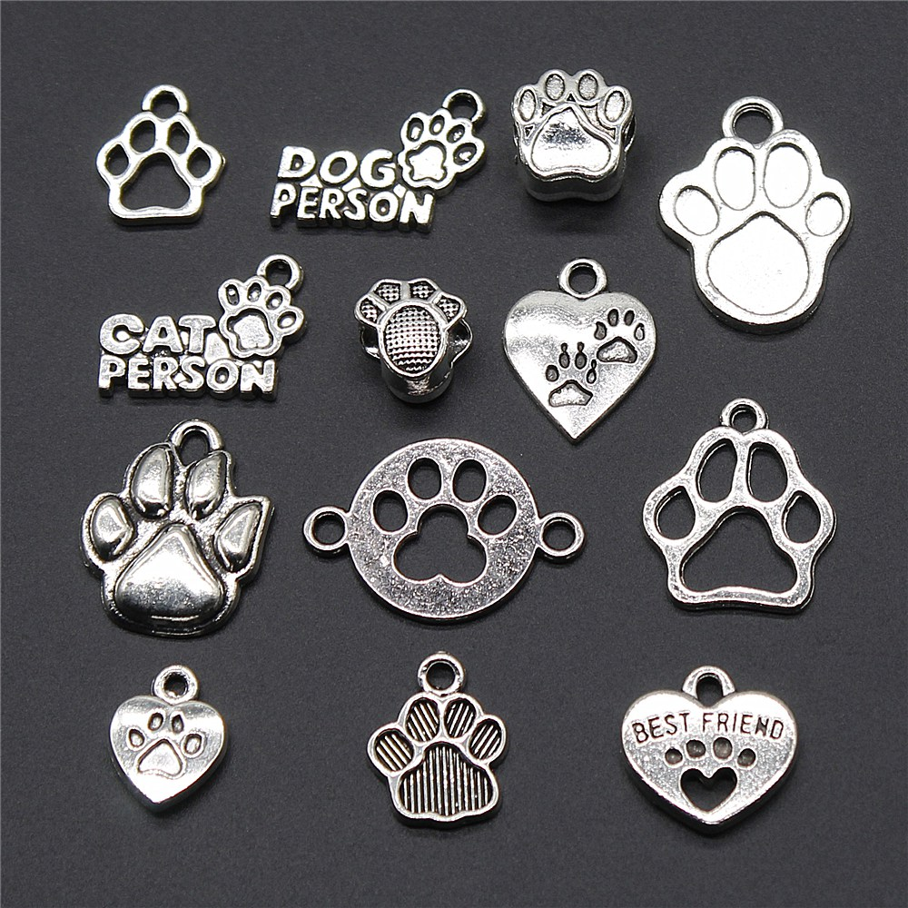 Pendant Charm Jewelry-Accessories Paw-Print Silver-Color Vintage Antique Cute 10pcs Craft