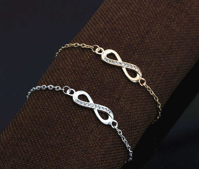 2018 New Fashion Gold Silver Color Crystal Infinity Bracelet for Women Jewelry Masculina Friendship Bracelets bijoux