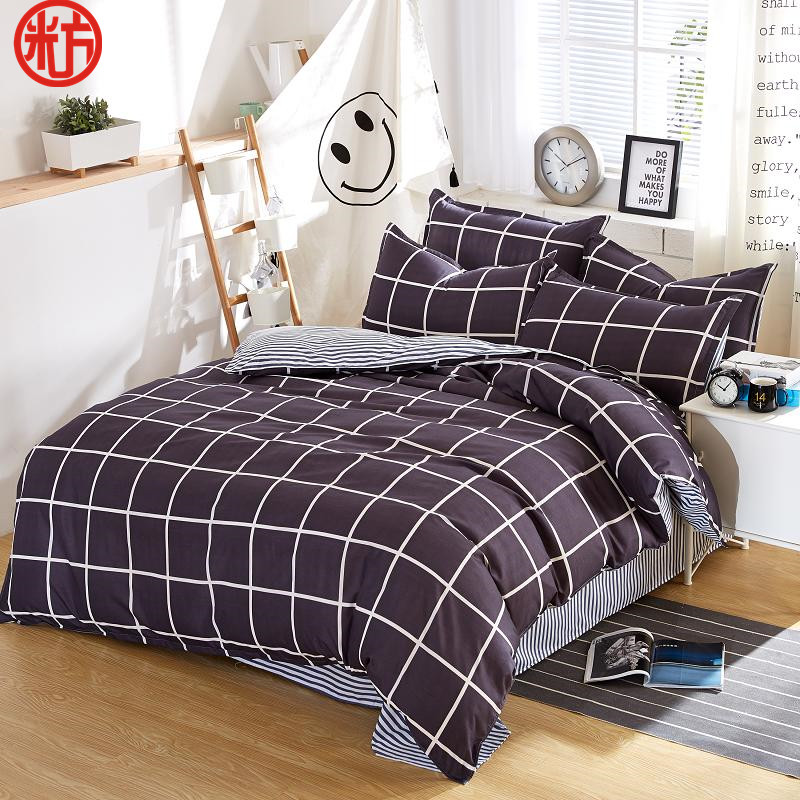 2017 summer bedding set classic grid duvet cover queen bed for Housse de duvet