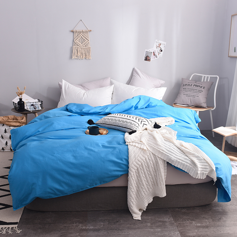 Stylish Lake Blue Solid Color 1PC Environmental And Dyeing Super Soft Duvet Cover Home-Textile 5 Size For Choose 220x240cm Size