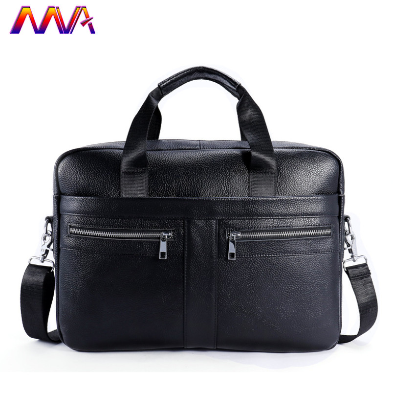 Mva Men Leather Briefcase 100% Genuine Leather Men`s Briefcase Fashion Business Men Computer Handbag Men Leather Briefcase