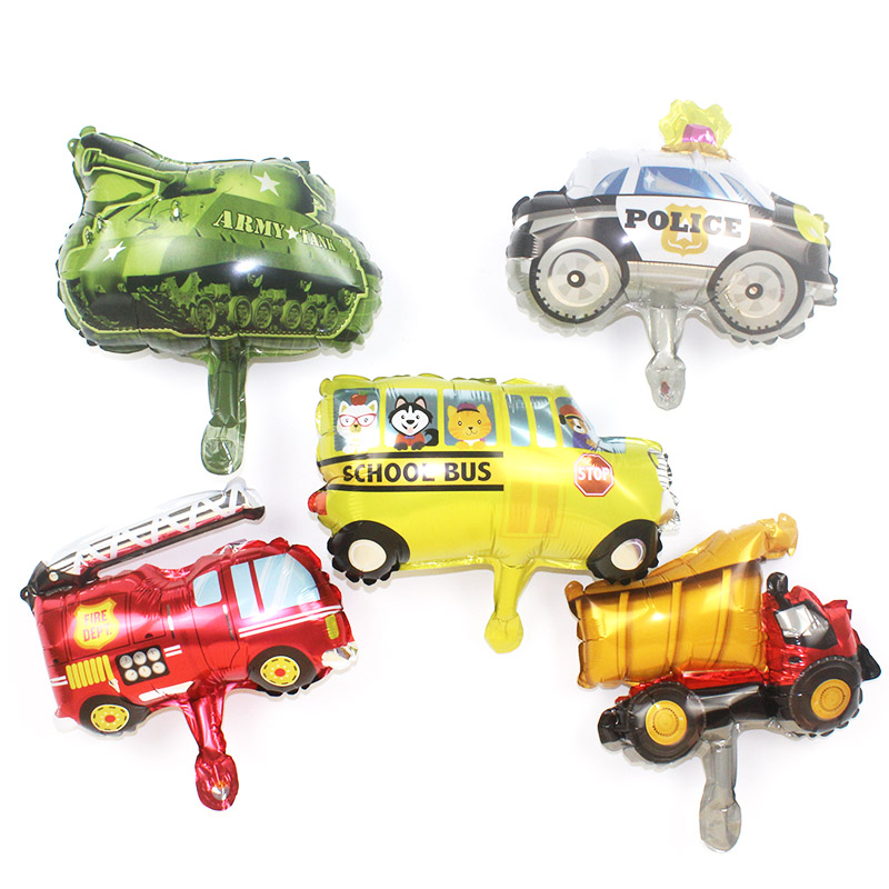 5pcs Mini Car Balloons  Police Fire Truck Tank Foil Balloon Ambulance Globos Children Gifts Birthday Party Decor Kids balls