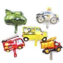 5pcs Mini Car Balloons  Police Fire Truck Tank Foil Balloon Ambulance Globos Children Gifts Birthday Party Decor Kids balls