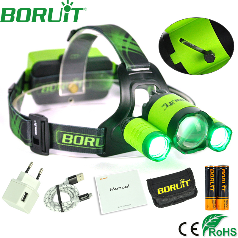 BORUiT 8000LM XM-L2 XPE Green LED Headlamp Hunting Zoom Headlight USB Rechargeable Output Power Bank Frontal Head Torch Light 3x xm l l2 8000 lm rechargeable headlamp outdoor headlight linterna frontal for hunting 18650 battery charger usb cable