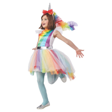 Gyermek Lányok Színes varázslatos árnyalatok Rainbow Unicorn Fantasy Fancy-Dress Gyerekek Halloween Carnival party jelmez