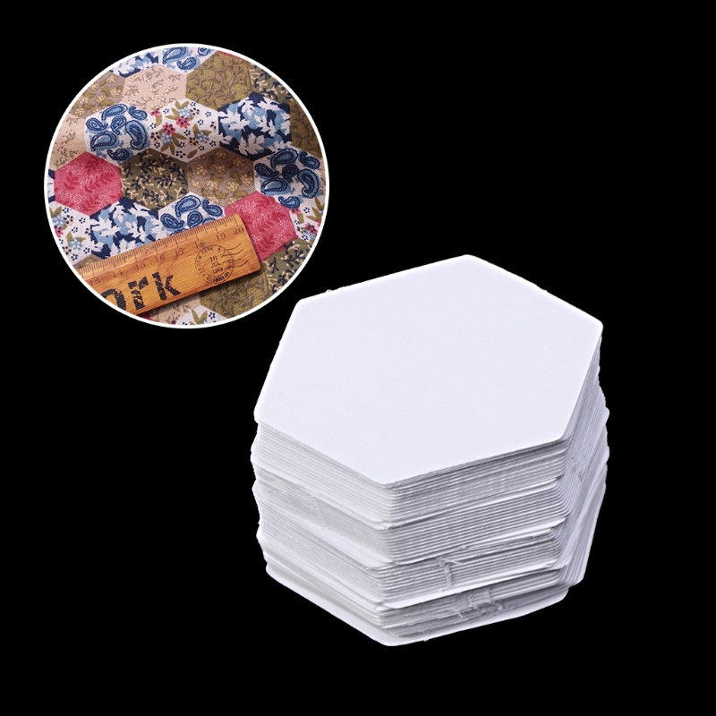 New Paper 100Pcs White Hexagon Templates For Patchwork Paper Quilting Sewing Craft Six Sizes
