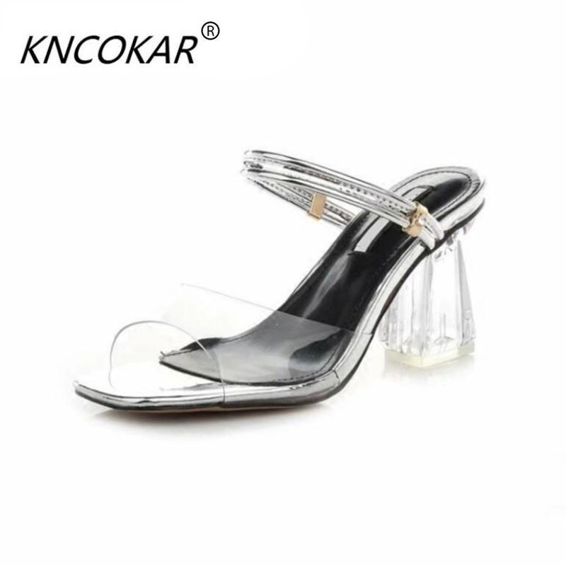 2017 Summer fashion thick heel 8.5CM high-heeled  transparent sexy open toe female Sandals   and   two ways of dressing shoes summer causal open toe buckle high heeled thick waterproof platform sandals for women