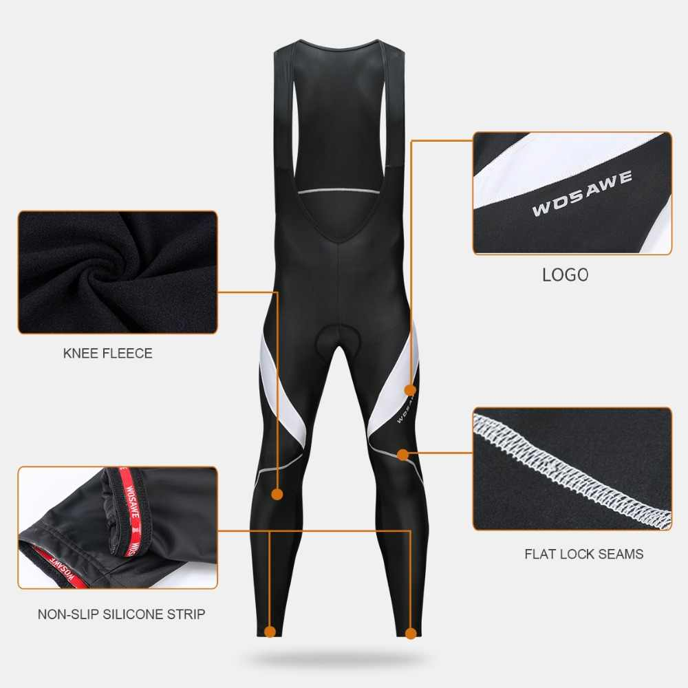 8aab6762e585f ... WOSAWE Mens Cycling Bib Tights 3D Padded Thermal Long Leggings MTB  Bicycle Racing Trousers Pro Team ...