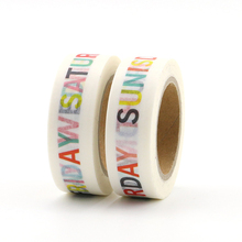 1pcs Week Pattern Paper Tape DIY Sticky Decoration Scrapbook Plan Masking Tape Label Sticker Cute Tape 1.5cm*10m