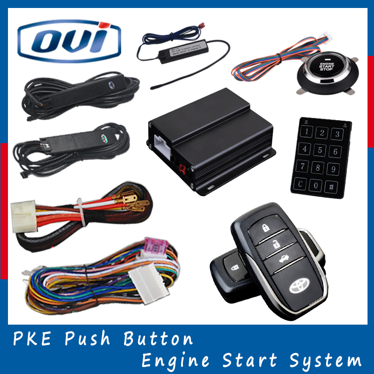 Quality Smart Key PKE Car Alarm System With Push Button Start Stop, Remote Engine Start Stop, Passive Keyless Entry
