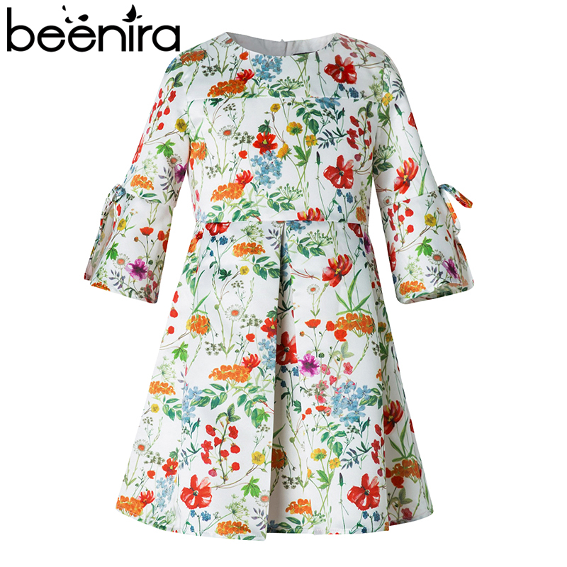 Beenira Children Dress 2018 New European & American Style Kids Flore Pattern Bow Princess Dress Design 4-14Y girl Spring Dresses beenira children clothes dresses 2017 new summer fashion style girls flower pattern bow princess dress for 4 14y baby girl dress
