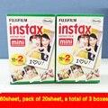 Hot 40 unids/caja fujifilm instax mini película 8 20 hojas para la cámara Instantánea mini 7 s 25 50 s 90 Papel Fotográfico Blanco Borde 3 pulgadas de ancho película