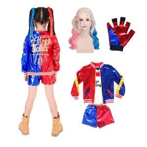 Film samobójstwo Squad Cosplay kostiumy Harley Quinn dzieci dziewczyny płaszcze kurtka Femme z perukami rękawiczki