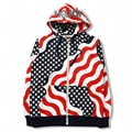Mens Hoodies Fashion Male Streetwear Hip Hop Sweatshirt Zipper Outerwear Unisex American Flag Print Tracksuit Hoodie For Men