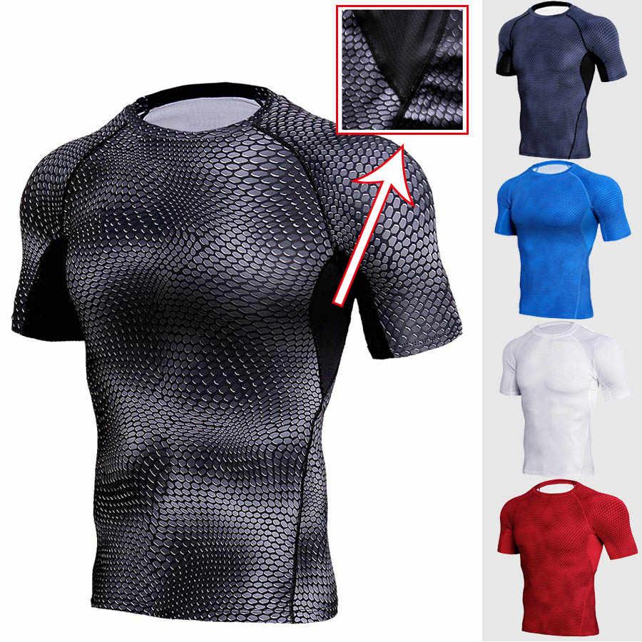 Мужские Утягивающие шорты быстросохнущие мужская 3D футболка беговые топы Спортивная одежда футболки с коротким рукавом мужская одежда для фитнеса Большие размеры