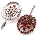 Long Big Blood Ruby, White CZ SheCrown Wedding Created  Silver Earrings 59x26mm