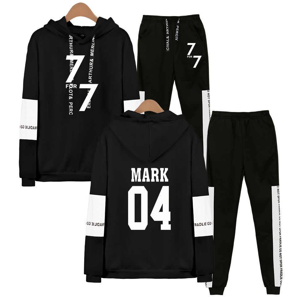 Kpop GOT7 Fans Sweatshirt Joggingbroek Suits Mannen Vrouwen Yugyeom Mark Jackson Jb Jinyoung Kreeg 7 Lid Naam Hoodies Tweedelige set