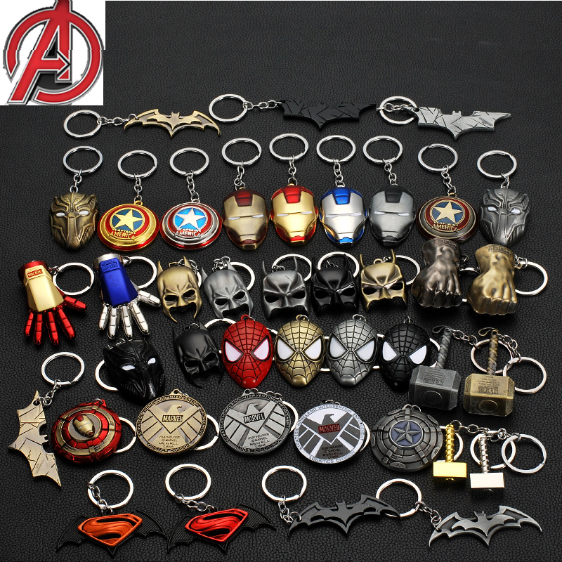 Avengers Captain America Shield Iron Man mask keychain cosplay props Superman Batman key ring SpiderMan key chain accessories image