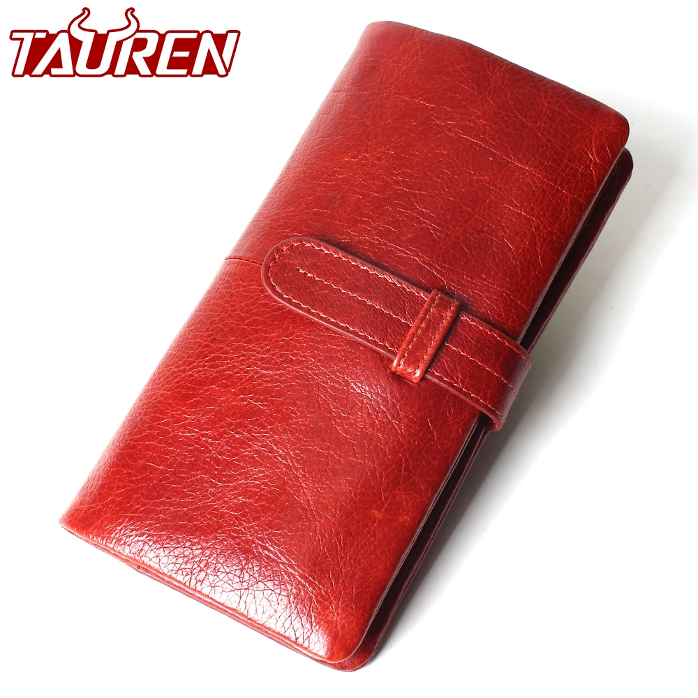 Women Fashion RFID Red Color Long Wallet Genuine Oil Wax Cowhide Leather Bifold Wallets Purse Vintage Designer Coin Purse new designer woman oil wax genuine leather bag cowhide fashion day clutches long purse female ladies handbag for men famous bags