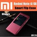 Xiaomi redmi note 4 case cubierta del tirón del imán inteligente wake arriba/sueño ventana de visualización case 4x redmi note nota 4 pro