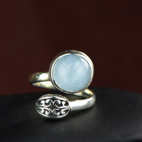 Authentic Silver 925 Ring Aquamarine Engagement Women Jewelry Natural Gemstone Elegant Fine Jewelry Anello Donna