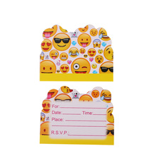 10pcs Emoji Disposable Tableware invitation card Happy Birthday Party Decorations Supplies Easter Baby shower Activity goods