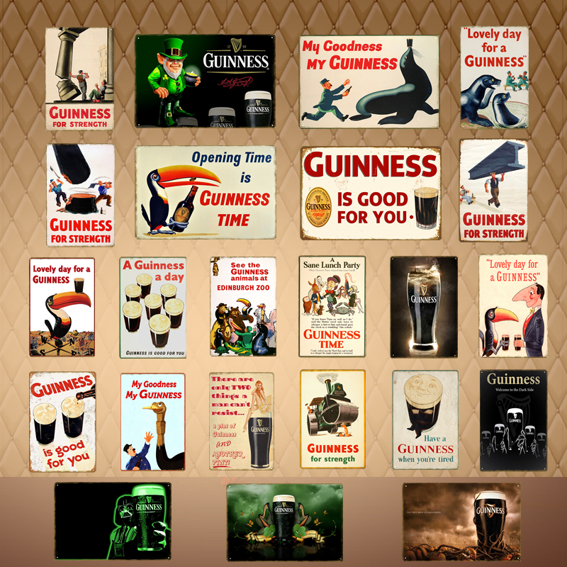 Guinness Man Cave Sign Cast Iron Brewery Advertising Plaque Repro Vintage Style