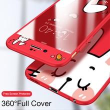 ASINA 360 Full Cover Cases For iPhone 7 Case Original Cute 3D Cartoon 8 Plus X Bumper Fundas Tempered Glass
