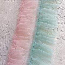 1Yard Pleated Guipure Lace Ribbon Mesh Lace Fabric Tulle Trim 4.5cm Sewing Decorations Clothes Craft Supplies encaje dentelle lace fabric 1yard lot high quality lace trim embroidery mesh lace ribbon tulle guipure cord lace sewing diy doll cloth