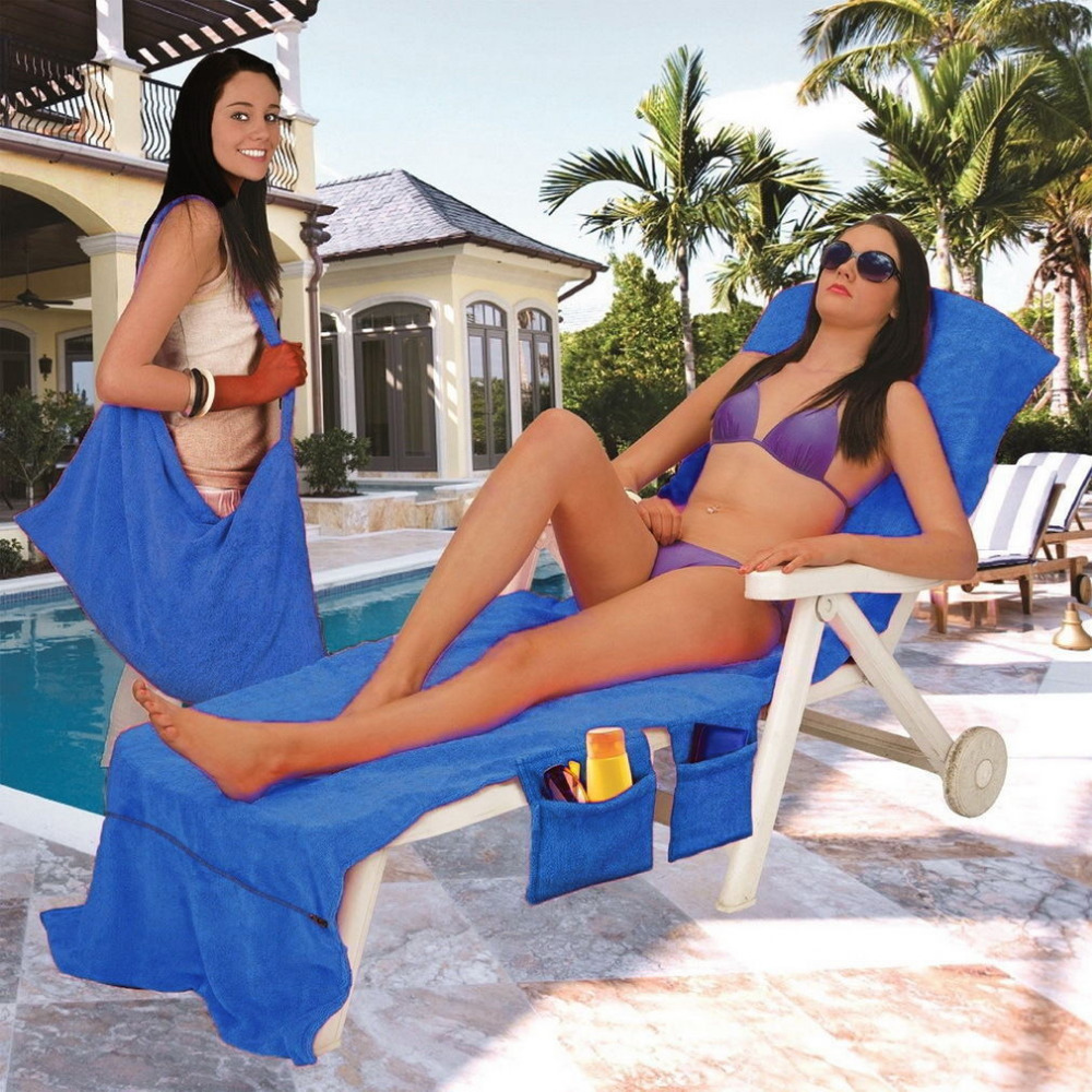 215x75cm Lounger Mate Beach Towel Sun Lounger Bed Holiday Garden Lounge Pockets Carry Bag in Bath Towels from Home Garden