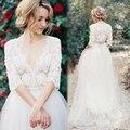 Fashion line свадебное платье урожай элегантный V-образным Вырезом кружева свадебные платья 2017 vestidos де novia encaje супруга
