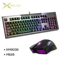 DELUX KM9036 клавиатура с подсветкой M625 проводная мышь dpi 4000 5 сменный светодиодный свет геймер ПК игровая мышь Клавиатура для ноутбука