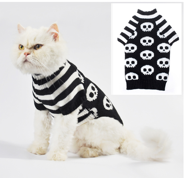 Ghost Pattern Crochet Cats Sweater Pullover Aran Pets Dog Soft