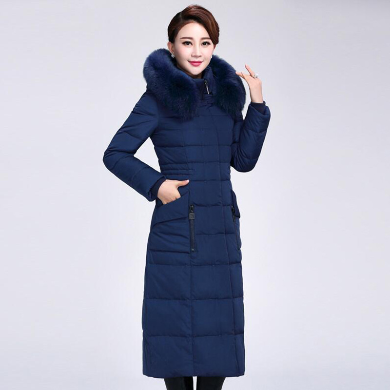 New 2018 Winter Women's 90% White Duck   Down   Jacket Middle-aged Mother Slim Thicken Long   Down     Coat   Fox fur collar Hooded Parka
